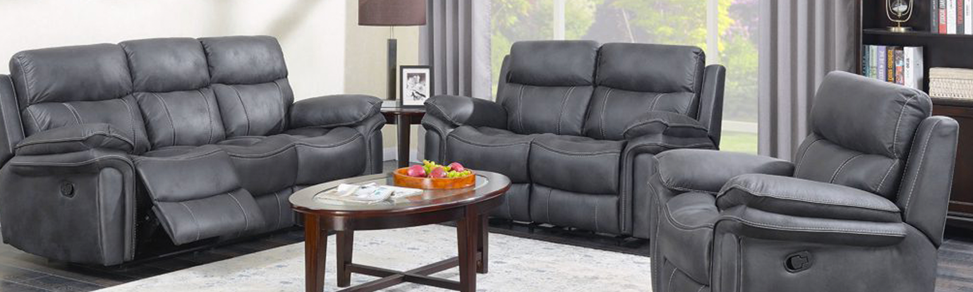 2 Seater Fabric Manual Recliners