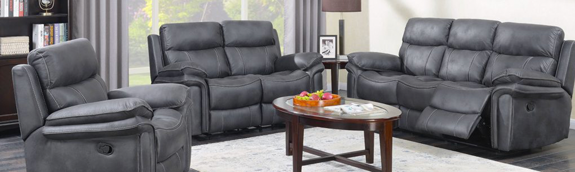 3 Seater Fabric Manual Recliners